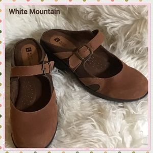 White Mountain open back low heel leather shoes